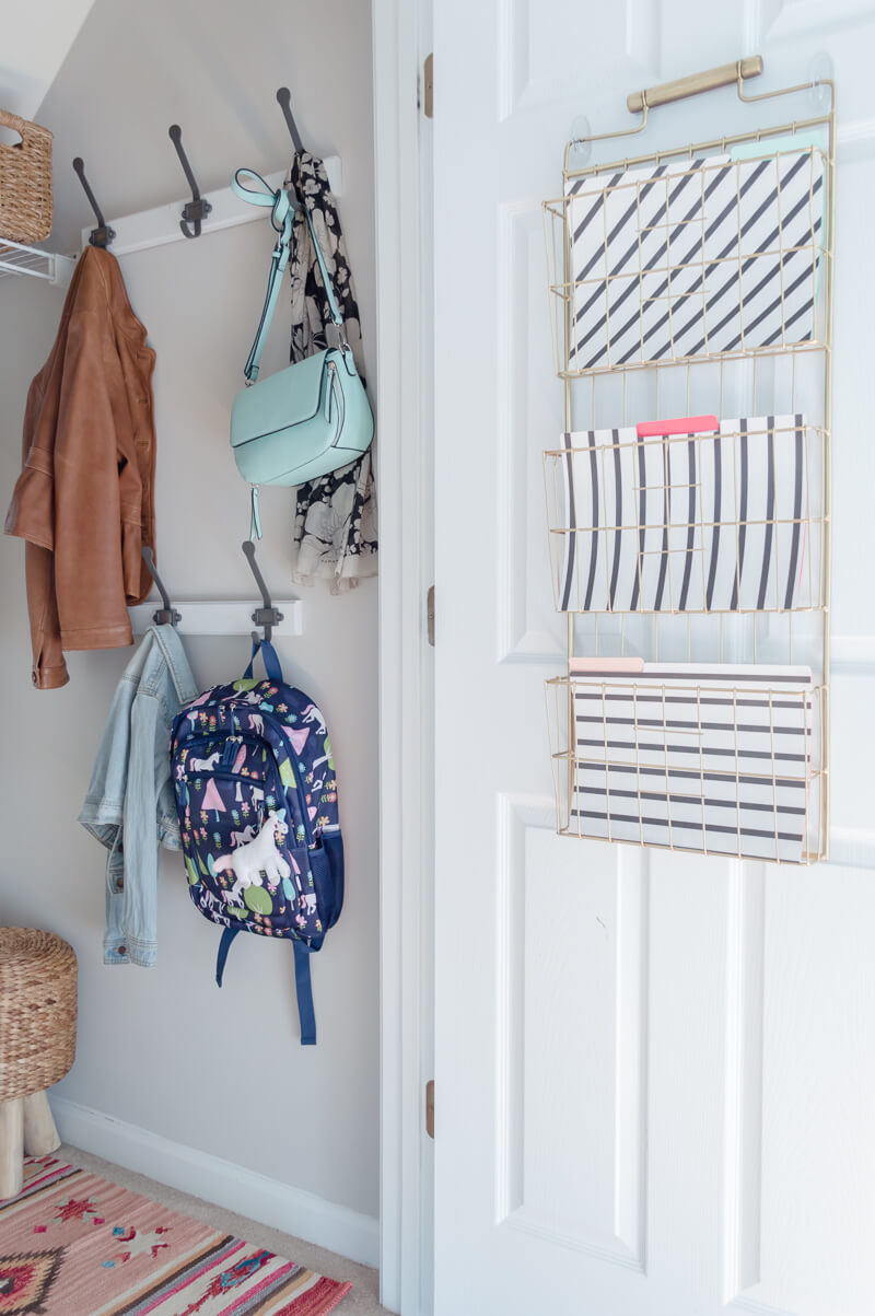 Mudroom Closet Paper Organization