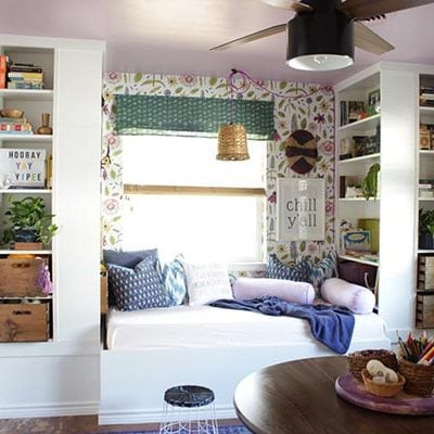 Daybed with ikea bookshelves