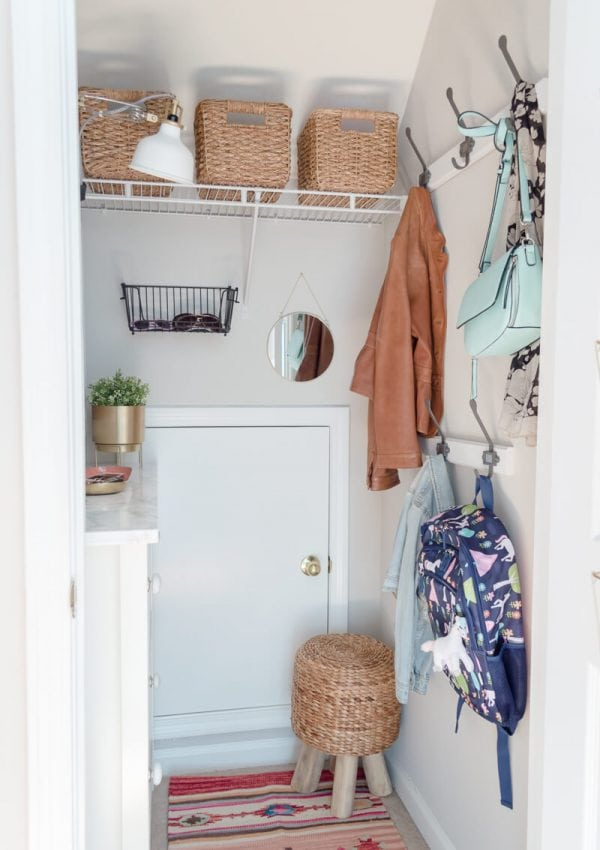 Mudroom In A Closet  – $100 Room Makeover Reveal