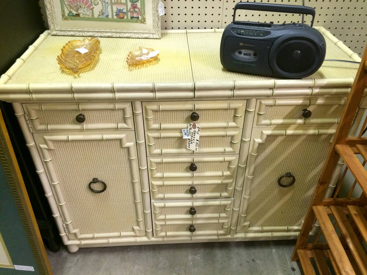 Faux Bamboo Sideboard makeover before