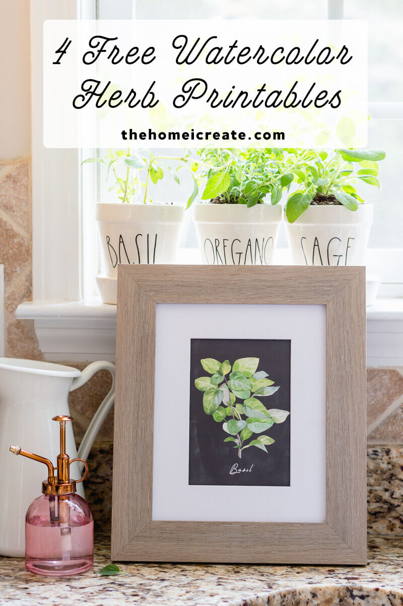 4 Free Watercolor Herb Printables. Perfect for adding a fresh touch of green to your home in any season. #printable #freeprintable