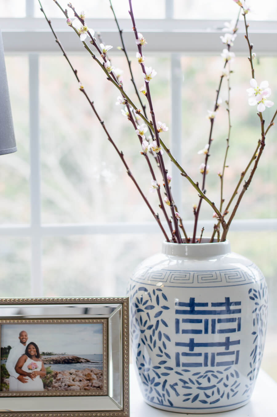 Blue and white ginger jar in master bedroom update