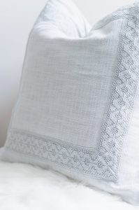 Pottery Barn Pillow in master bedroom
