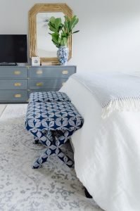 blue and grey master bedroom update