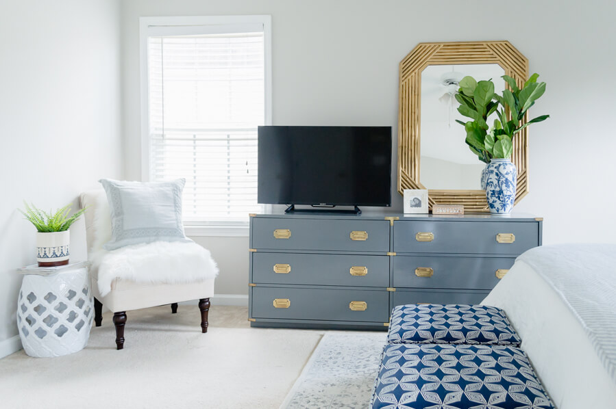 master bedroom update with vintage campaign dresser