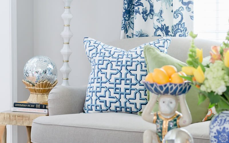 Blue and White Living Room Accents
