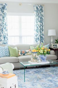 Blue white and green living room