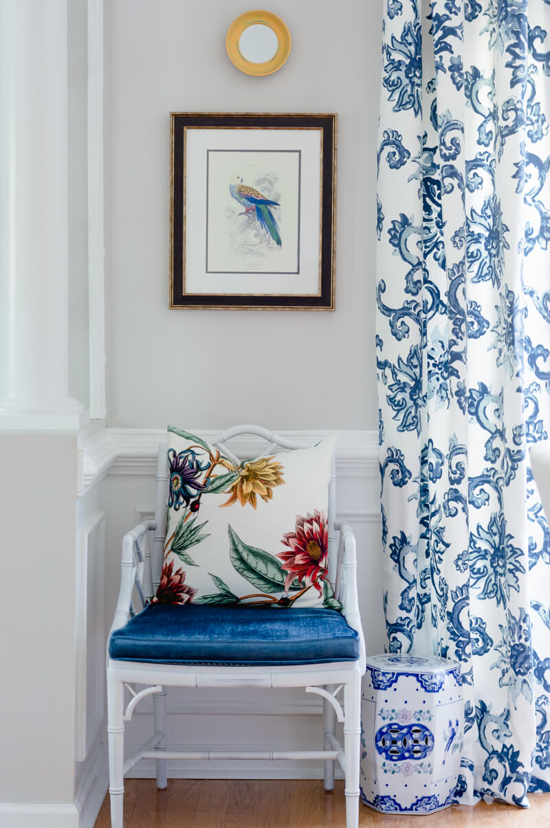 Floral Blue and white curtains