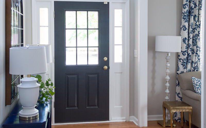 Front Door Painted Black Sherwin Williams Iron Ore