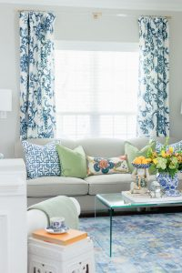 Lucite Curtains Rods with Blue and White Curtains
