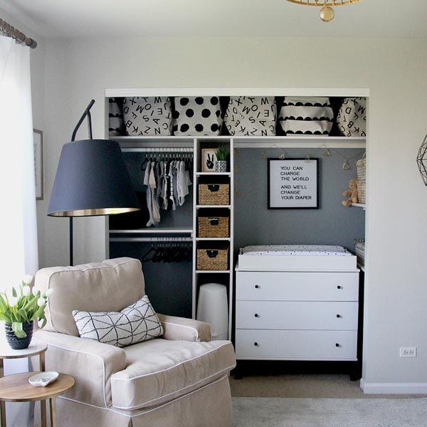 Sophisticated-Neutral-Nursery-black-white-gold-gray-tan-gender-neutral-baby-nursery-with-DIY-closet-This-is-our-Bliss