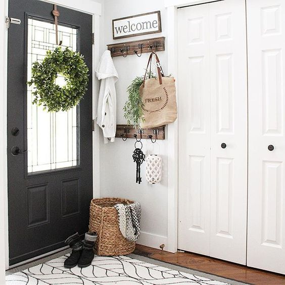 black front door with wreath