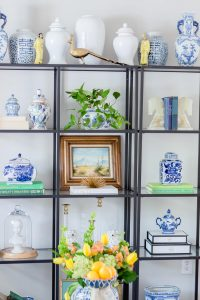 ikea vittsjo shelf styled with blue and white pieces