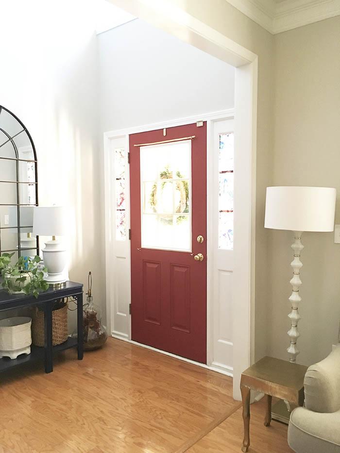 red foyer door