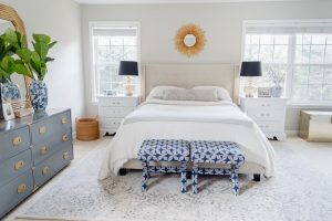blue and white master bedroom update