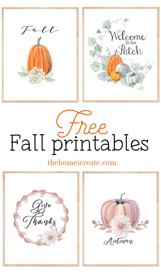 Use these 4 printable fall signs for an easy and free way decorate your home this fall season.