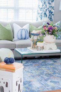 Blue Pumpkin Pillow Fall Decor