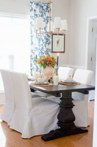 Blue and Orange Fall Dining Room.