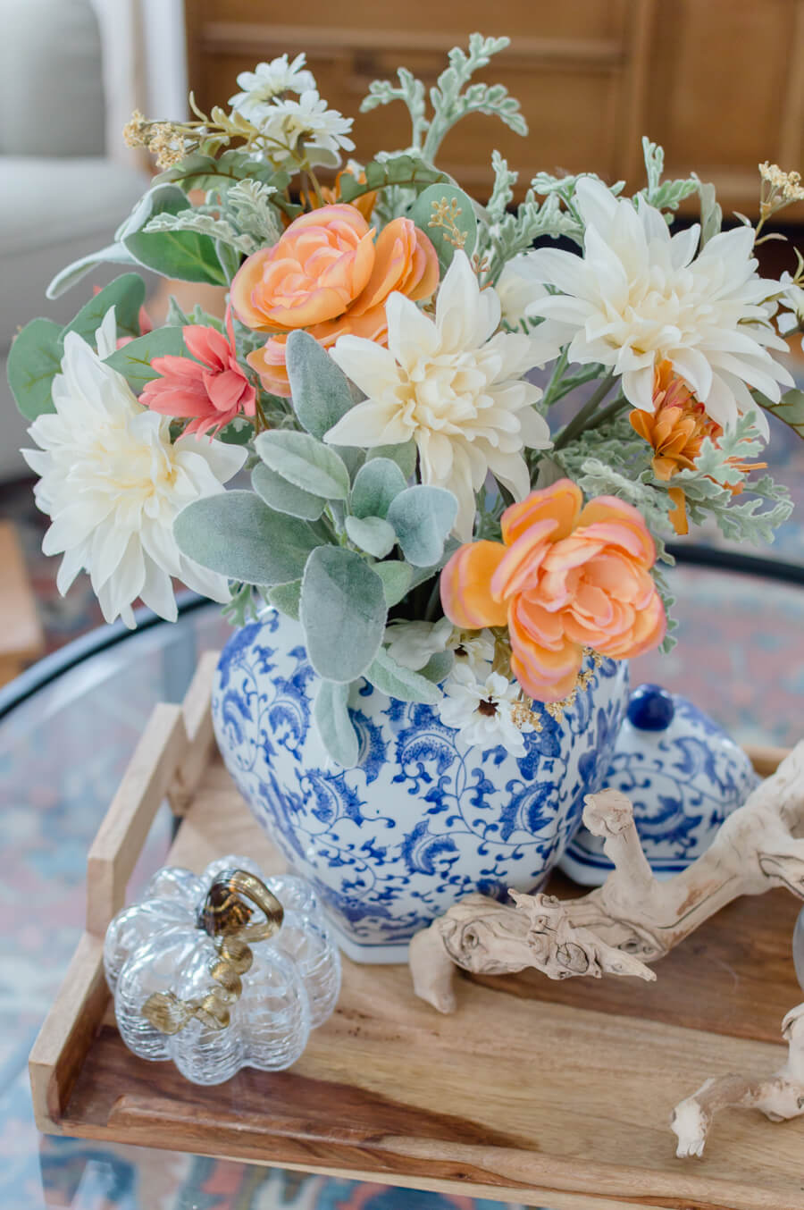 Blue and Orange Fall Flower Arrangement