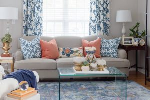 Blue and Orange Fall Home Living Room