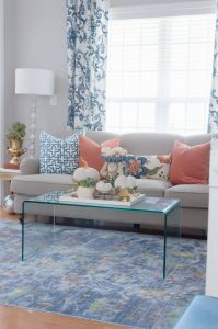 Colorful fall home tour with blue and orange accents.