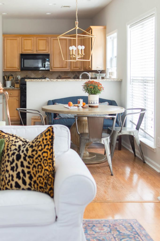 Blue and Orange Fall Home Tour Breakfast Nook