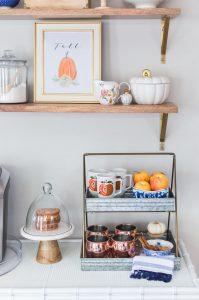 Blue and Orange Fall Home Tour Coffee Bar