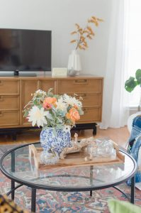 Blue and Orange Fall Home Tour Coffee Table Decor