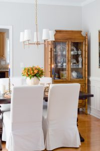 Blue and Orange Fall Home Tour Dinning