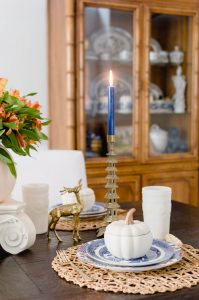 Blue and Orange Fall Home Tour Dinning Room