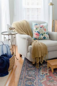 Blue and Orange Fall Home Tour English Roll Armchair
