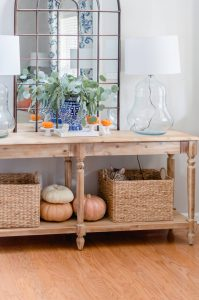 Blue and Orange Fall Home Tour Entry table