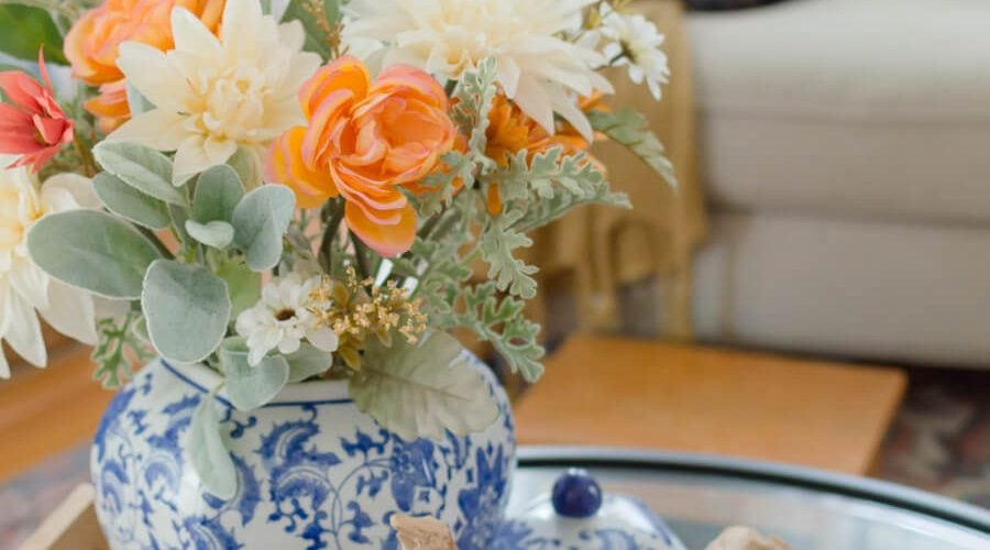 Blue and Orange Fall Home Tour Glass Pumpkins