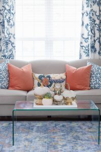 Blue and Orange Fall Home Tour H&M Pillows