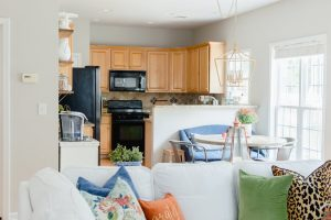 Blue and Orange Fall Home Tour Kitchenjpg