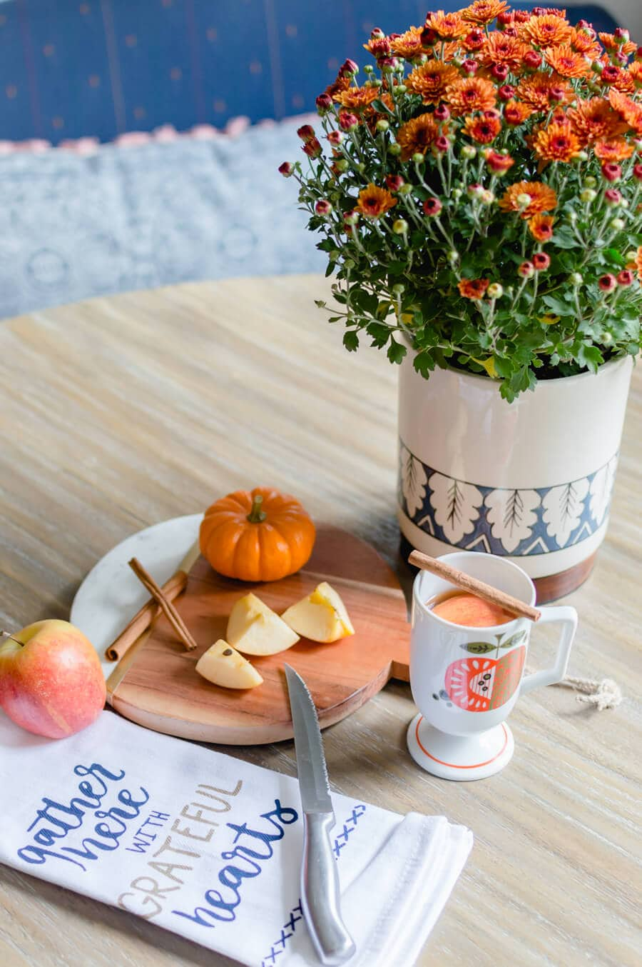 Blue and Orange Fall Home Tour Kitchen decor