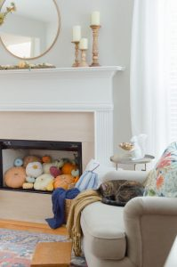 Blue and Orange Fall Home Tour Pumpkin Fireplace