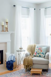 Blue and Orange Fall Home Tour Reading Nook