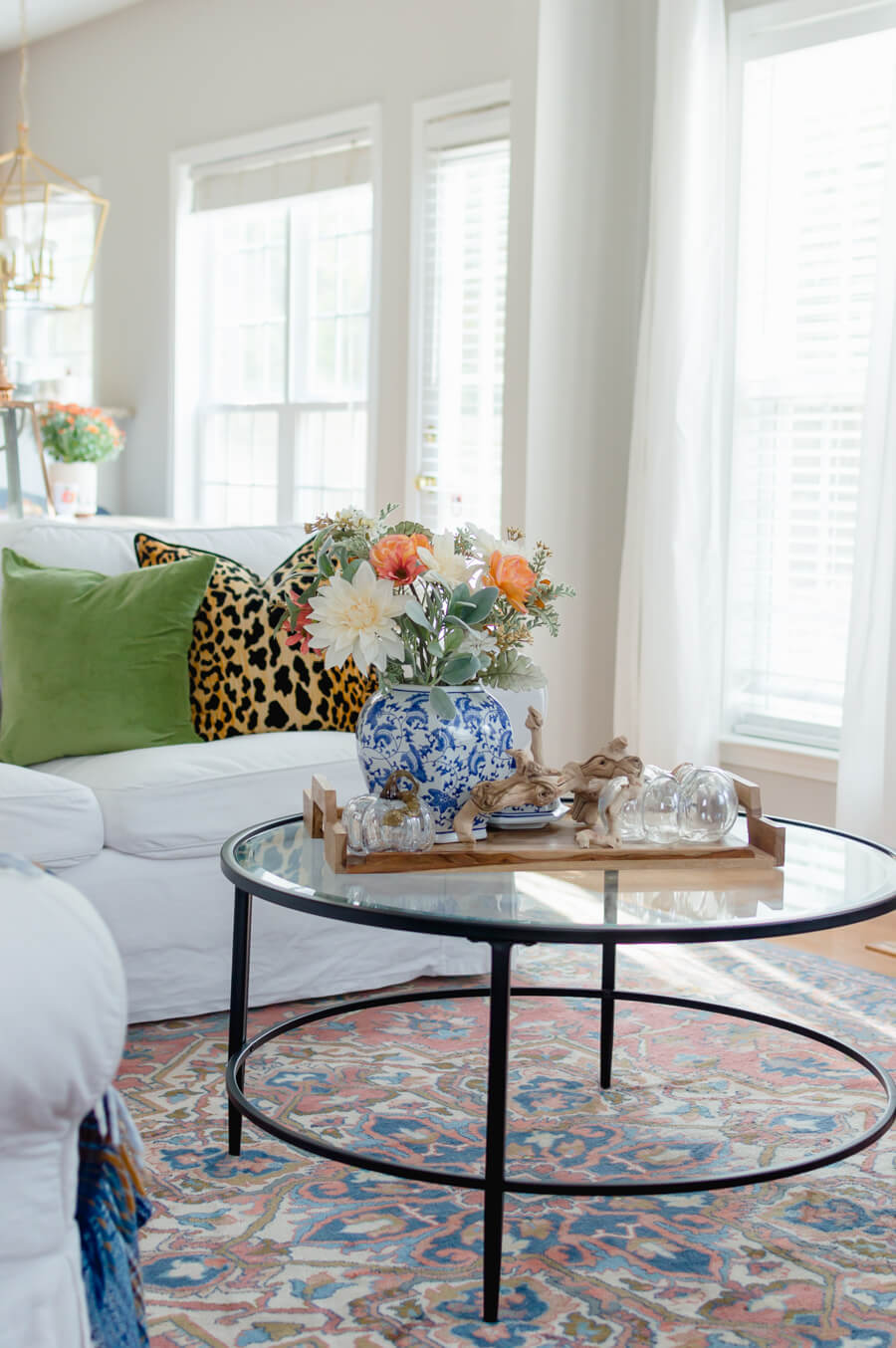 Blue and Orange Fall Home Tour Round Coffee Table