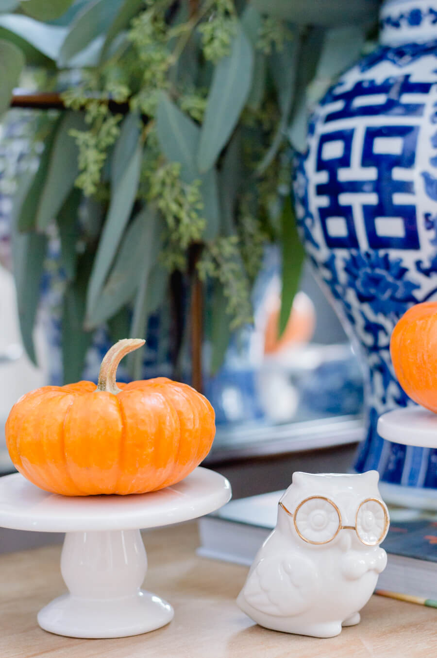 Blue and Orange Fall Home Tour Small Owl