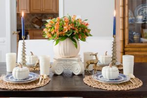 Blue and Orange Fall Home Tour Tablescape