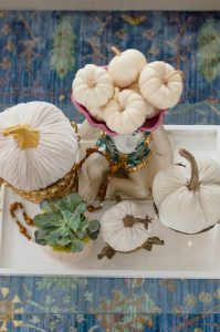 Blue and Orange Fall Home Tour Velvet Pumpkins