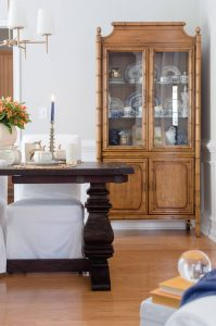Blue and Orange Fall Home Tour Vintage Chinoiserie Hutch