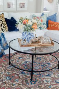 Blue and Orange Fall Home Tour Vintage rug