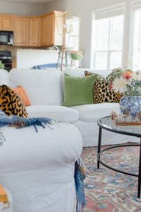 Blue and Orange Fall Home Tour White Sectional