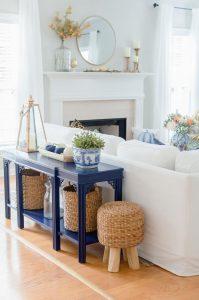 Blue and Orange Fall Home Tour sofa table