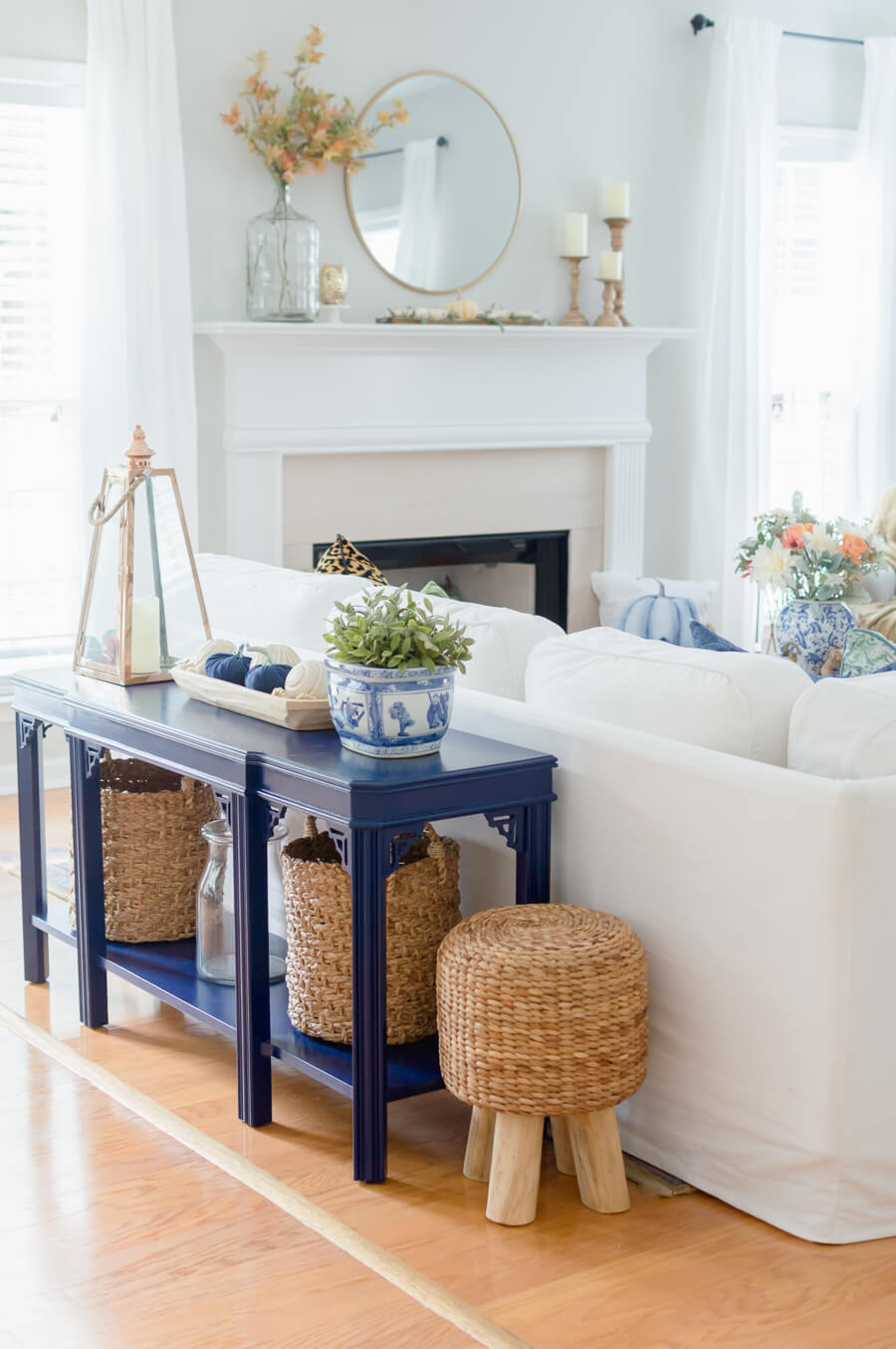 Blue and Orange Fall Home Tour sofa table
