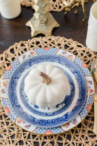 Blue and Orange Fall Table willow plates