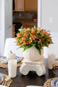 Blue and Orange Fall Tablescape Flower centerpiece