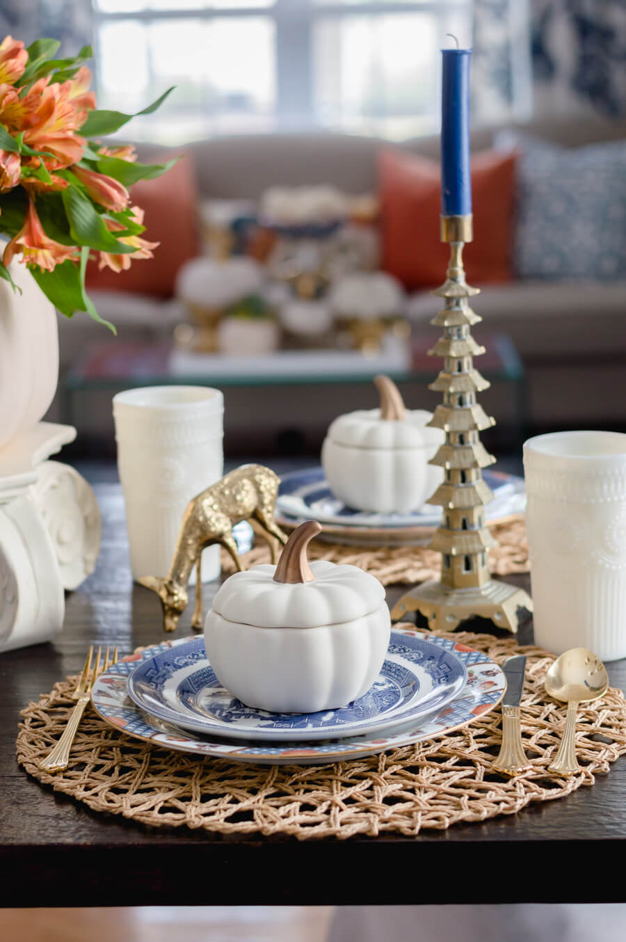 Blue and Orange Fall Tablescape Settings